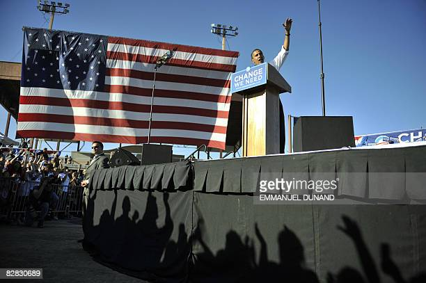 US Democratic presidential candidate Illinois Senator Barack Obama speaks during a rally at Colorado State Fair Grounds in Pueblo Colorado September...