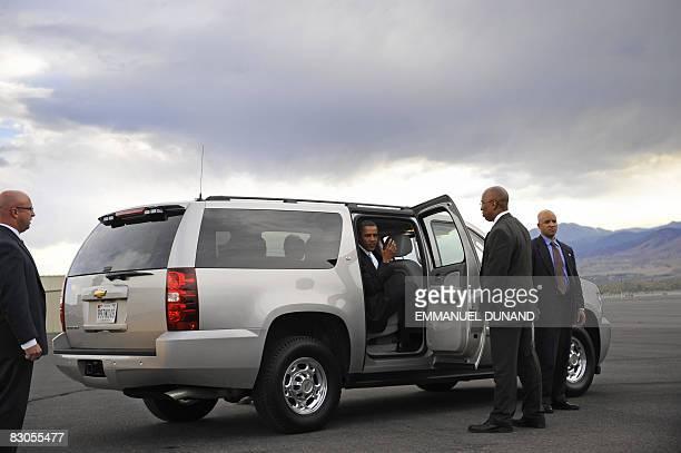 US Democratic presidential candidate Illinois Senator Barack Obama boards a car after landing in Reno Nevada September 29 2008 Obama expressed...