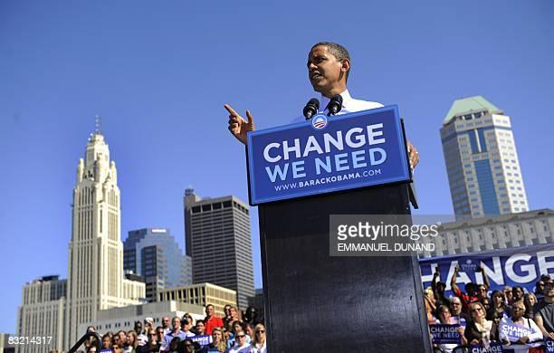 US Democratic presidential candidate Illinois Senator Barack Obama speaks during a rally at Genoa Park Amphitheatre in Colombus Ohio October 10 2008...