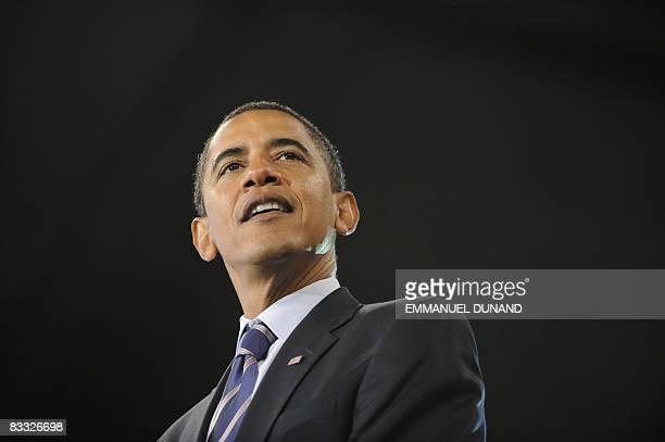 US Democratic presidential candidate Illinois Senator Barack Obama speaks during a rally at Roanoke Civic Center in Roanoke Virginia October 17 2008...