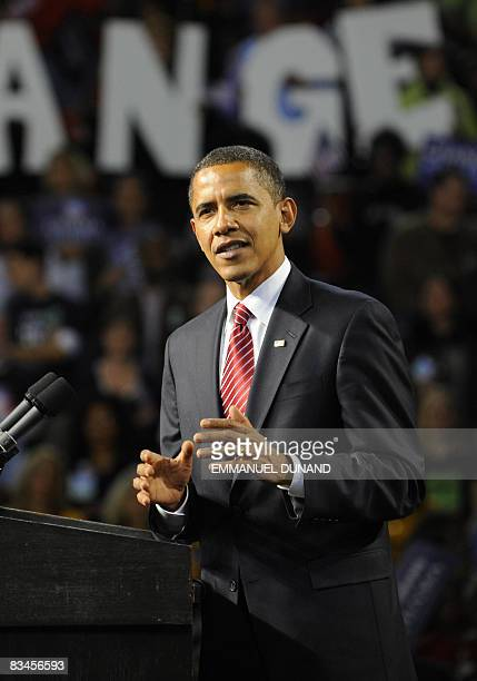 US Democratic presidential candidate Illinois Senator Barack Obama speaks during a rally at the Melon Arena in Pittsburgh Pennsylvania on October 27...