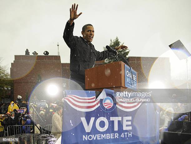 US Democratic presidential candidate Illinois Senator Barack Obama greets supporters during a rally at Widener University in Chester Pennsylvania...