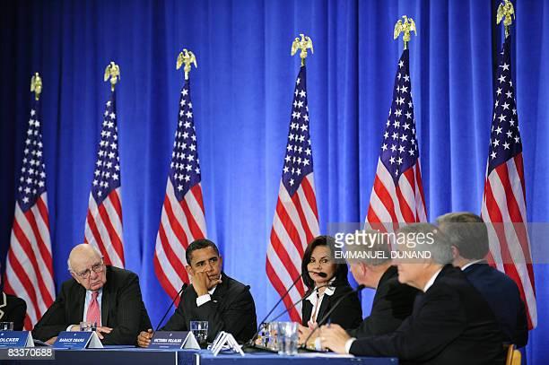 US Democratic presidential candidate Illinois Senator Barack Obama presides an economic summit at Palm Beach Community College in Lake Worth Florida...