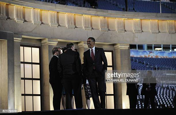 Democratic presidential candidate Illinois Senator Barack Obama, and his team take a walkthrough of Invesco Field at Mile High, where he will deliver...