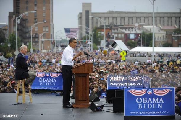 Democratic presidential candidate Illinois Senator Barack Obama and running mate Joe Biden at J. Douglas Galyon Depot during a rally in Greensboro,...