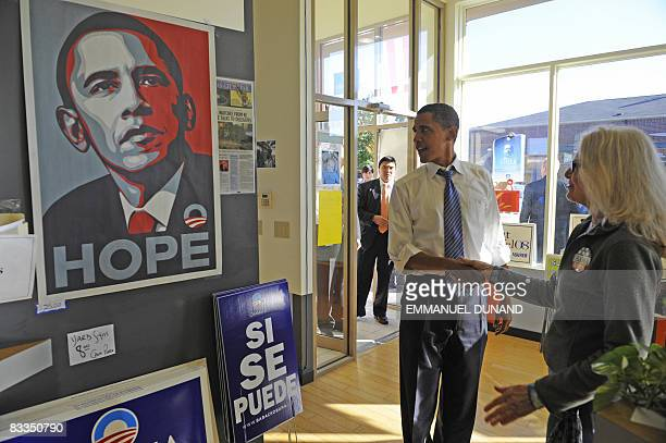 US Democratic presidential candidate Illinois Senator Barack Obama arrives at the Kansas City Obama camapign headquarters to help volounteers making...