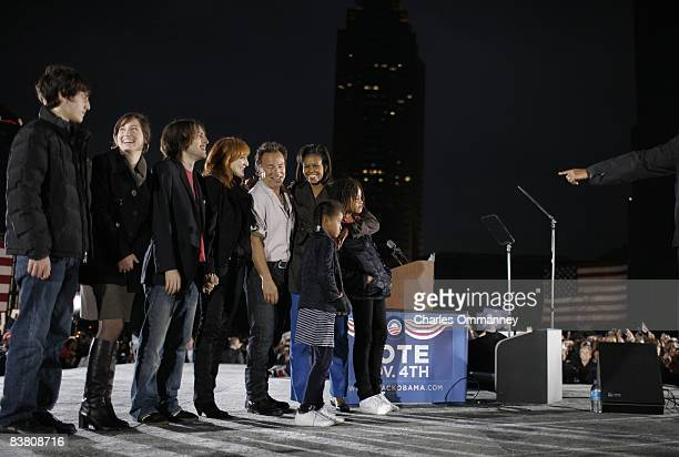 Democratic presidential candidate Illinois Senator Barack Obama his wife Michelle daughters Sacha and Malia 10 and music giant Bruce Springsteen...