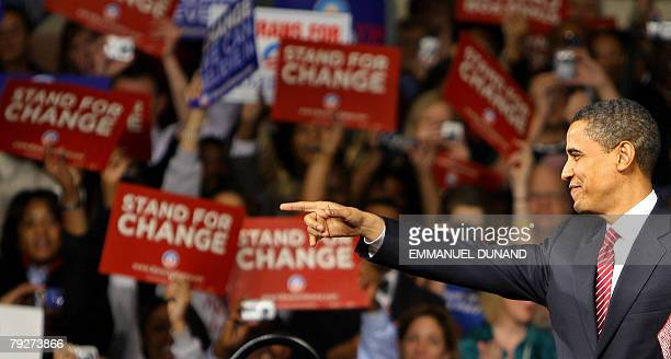 Democratic presidential candidate Illinois Senator Barack Obama addresses supporters following victory in the South Carolina primary 26 January 2008...