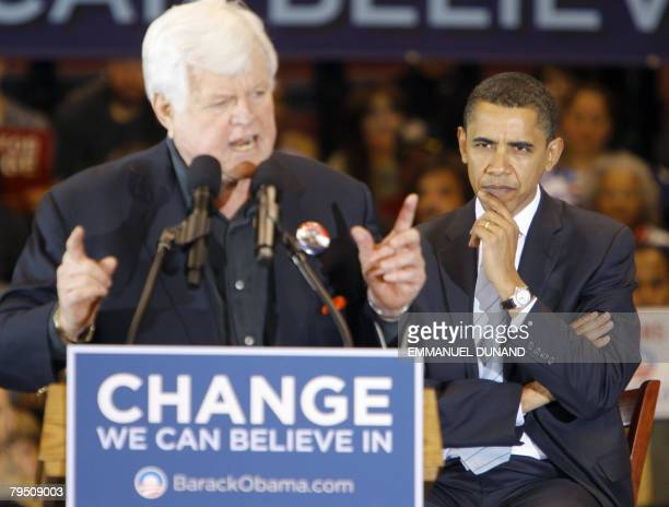 US Democratic presidential candidate Illinois Senator Barack Obama receives the support of US Senator Edward Kennedy during a rally in East...