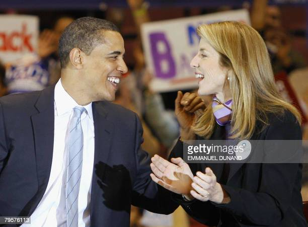 US Democratic presidential candidate Illinois Senator Barack Obama receives the support of Caroline Kennedy during a rally in East Rutherford New...