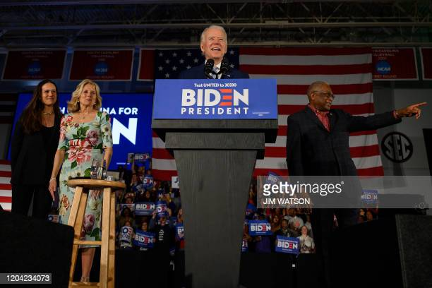 Democratic presidential candidate Joe Biden, accompanied by his daughter Ashley Biden and wife Jill Biden delivers remarks at his primary night...