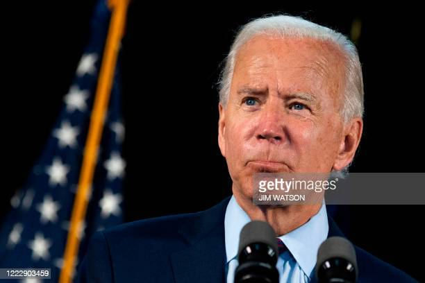 Democratic presidential candidate Joe Biden delivers remarks after meeting with Pennsylvania families who have benefited from the Affordable Care Act...