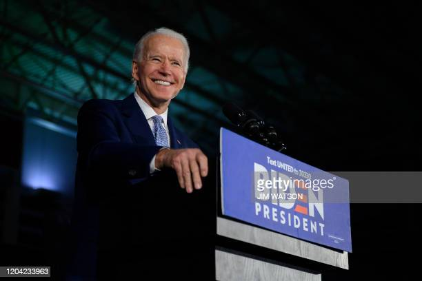 Democratic presidential candidate Joe Biden delivers remarks at his primary night election event in Columbia South Carolina on February 29 2020...