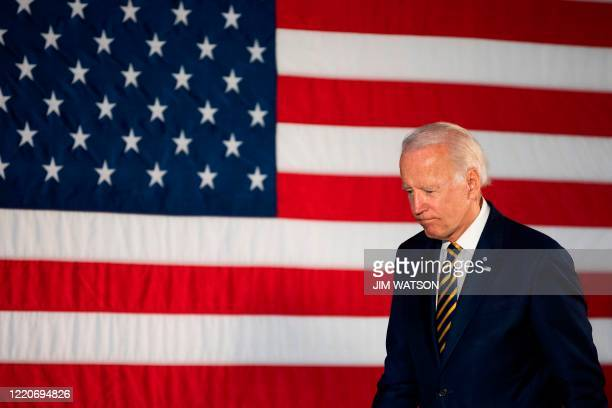 Democratic presidential candidate Joe Biden departs after speaking about reopening the country during a speech in Darby, Pennsylvania, on June 17,...