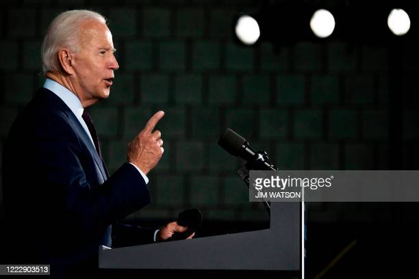 Democratic presidential candidate Joe Biden gestures as he delivers remarks after meeting with Pennsylvania families who have benefited from the...