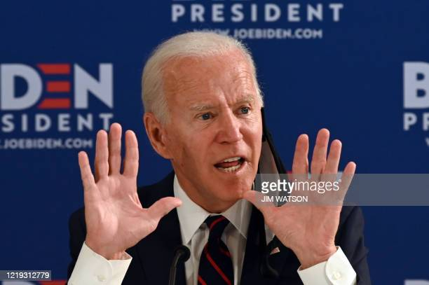 Democratic presidential candidate Joe Biden holds a roundtable meeting on reopening the economy with community leaders at the Enterprise Center in...