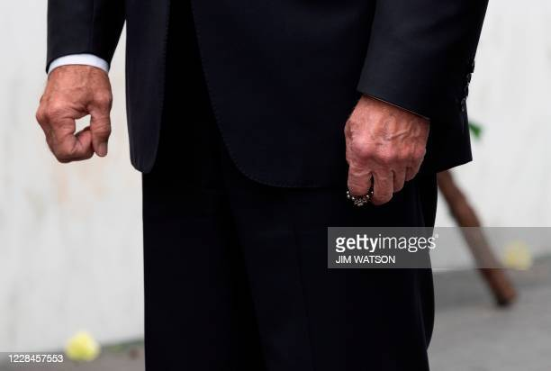 Democratic Presidential Candidate Joe Biden holds his rosary after laying a wreath at the Flight 93 Memorial on September 11 in Shanksville,...