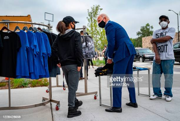 Democratic Presidential Candidate Joe Biden shops for his grandkids at the Three Thirteen store in Detroit, Michigan, on September 9, 2020.