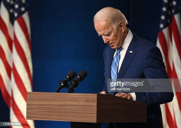 Democratic Presidential candidate Joe Biden speaks at the Chase Center in Wilmington, Delaware on November 4, 2020. - President Donald Trump and...