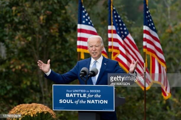 Democratic presidential candidate Joe Biden speaks at The Mountain Top Inn & Resort in Warm Springs, Georgia on October 27, 2020. - Democrat Joe...