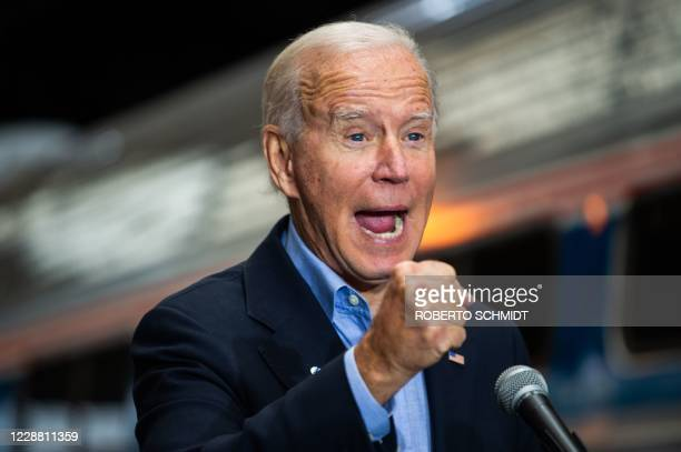 Democratic presidential candidate Joe Biden speaks at the Pittsburgh train station in Pittsburgh, Pennsylvania, on September 30 during a train...