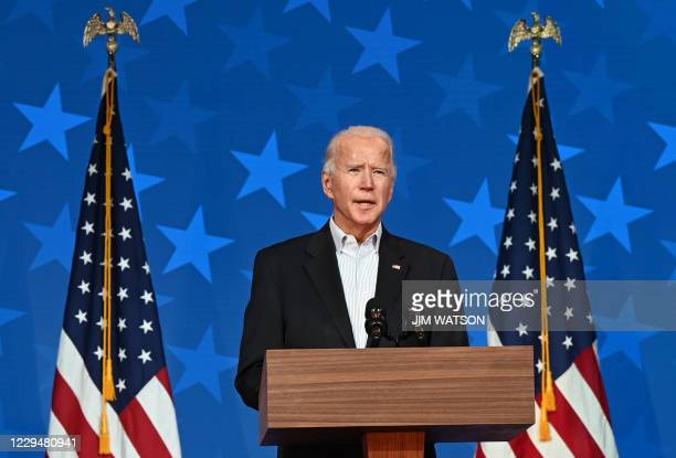 Democratic Presidential candidate Joe Biden speaks at the Queen venue in Wilmington, Delaware, on November 5, 2020. - The nail-biting US election was...
