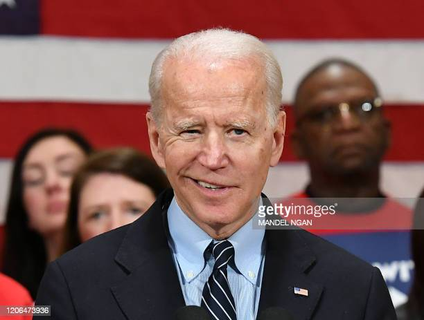 Democratic presidential candidate Joe Biden speaks during a campaign stop at Driving Park Community Center in Columbus Ohio on March 10 2020