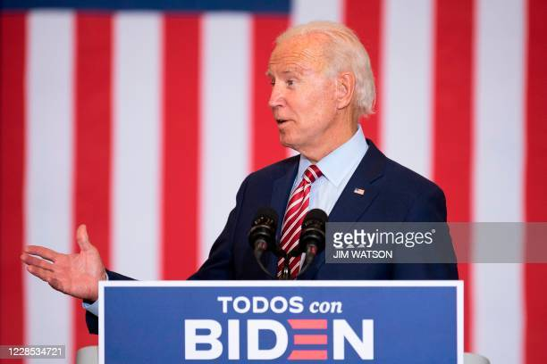 Democratic Presidential Candidate Joe Biden speaks during a Hispanic Heritage Month event at the Osceola Heritage Park in Kissimmee, Florida on...