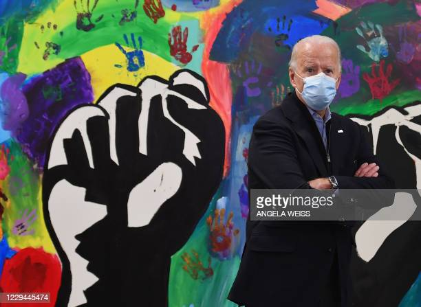 Democratic presidential candidate Joe Biden visits The Warehouse for teens by teens in Wilmington, Delaware on November 3, 2020. - The US started...