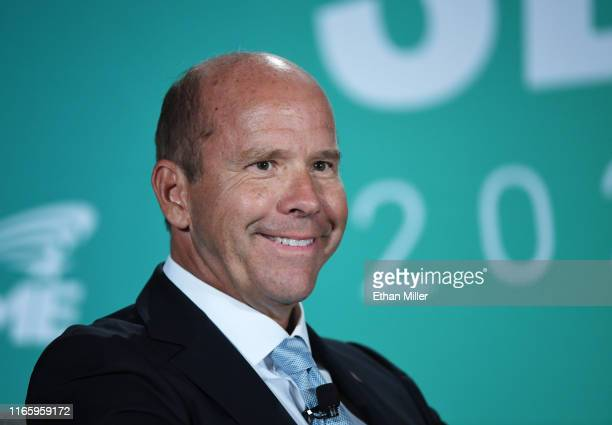 Democratic presidential candidate John Delaney smiles during the 2020 Public Service Forum hosted by the American Federation of State County and...
