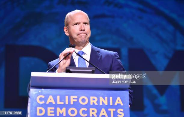 Democratic presidential candidate John Delaney speaks during the 2019 California Democratic Party State Convention at Moscone Center in San Francisco...