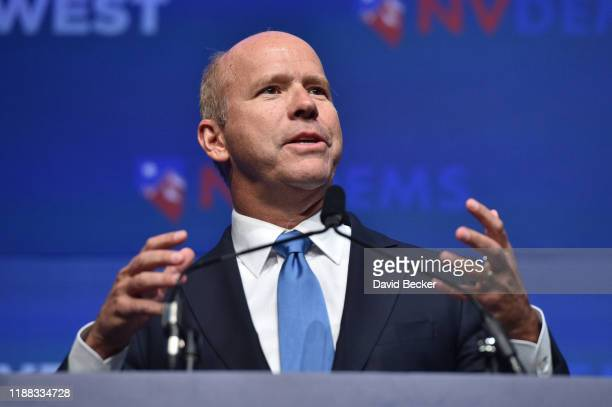 Democratic presidential candidate John Delaney speaks during the Nevada Democratic's First in the West event at Bellagio Resort Casino on November 17...