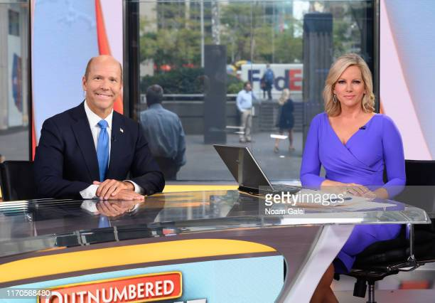 Democratic presidential candidate John Delaney visits 'Outnumbered Overtime' with guestanchor Shannon Bream at FOX Studios on August 27 2019 in New...