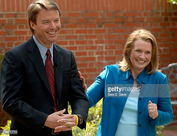 Democratic Presidential candidate John Edwards and his wife Elizabeth Edwards talk to the media about the return of her cancer during a news...