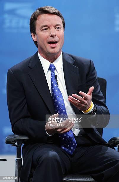 Democratic presidential candidate John Edwards speaks during a health care forum at the Cox Pavilion at UNLV March 24 2007 in Las Vegas Nevada...
