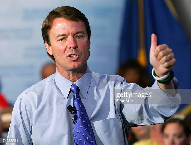 Democratic presidential candidate John Edwards speaks during a town hall meeting at UNLV April 30, 2007 in Las Vegas, Nevada. Poverty in America, a...