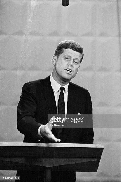 Democratic presidential candidate John F Kennedy in a debate with Richard Nixon This was the first in a televised series of debates known as the...