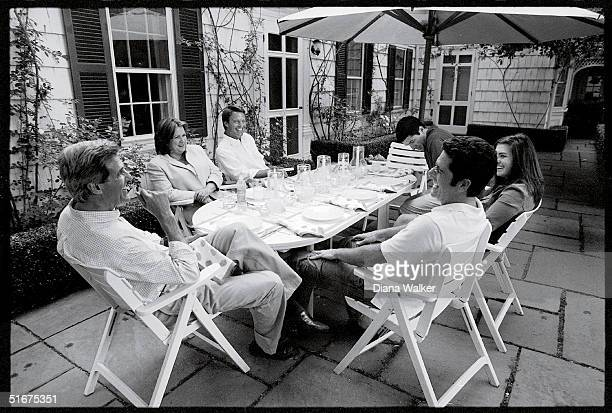 Democratic presidential candidate John Kerry at the head of the table with Elizabeth and vice president candidate John Edwards, Andre Heinz, Cate...