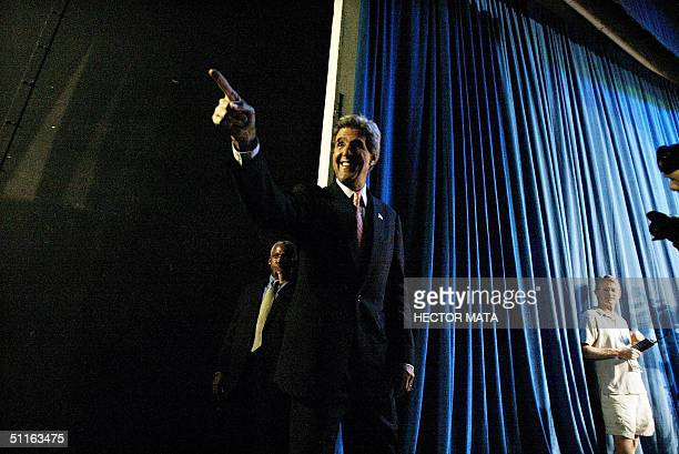 Democratic presidential candidate John Kerry prepares to enter the stage at California State UniversitDominguez Hill in Carson California 12 August...