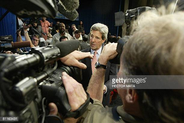 Democratic presidential candidate John Kerry talks with reporters after delivering a speech at California State UniversityDominguez Hill in Carson...