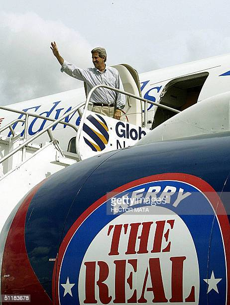 Democratic presidential candidate John Kerry waves supporters in Twin Falls, Idaho, 17 August as he boards his plane to resume his campaign. The US...