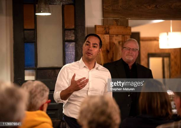 Democratic Presidential Candidate Julian Castro speaks at an event hosted by the Boone County Democrats at the Livery Deli on February 23 2019 in...