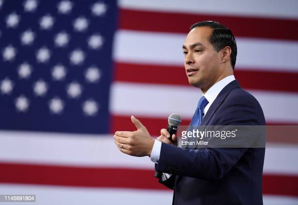 Democratic presidential candidate Julian Castro speaks at the National Forum on Wages and Working People Creating an Economy That Works for All at...