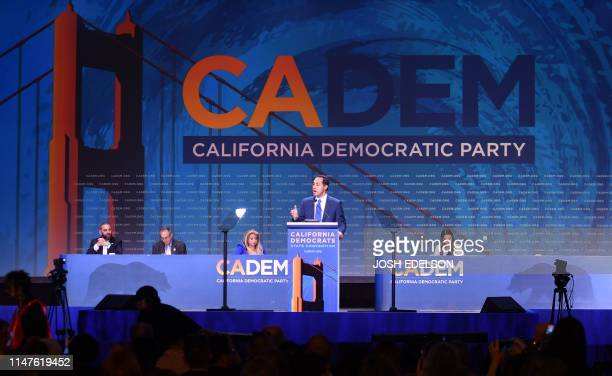 Democratic presidential candidate Julian Castro speaks during the 2019 California Democratic Party State Convention at Moscone Center in San...