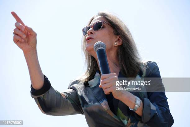 Democratic presidential candidate Marianne Williamson delivers a 20-minute campaign speech at the Des Moines Register Political Soapbox during the...