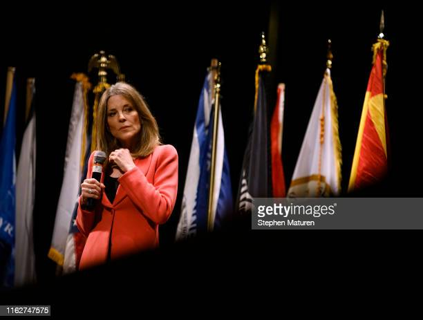 Democratic presidential candidate Marianne Williamson listens to a question from a panel member at the Frank LaMere Native American Presidential...