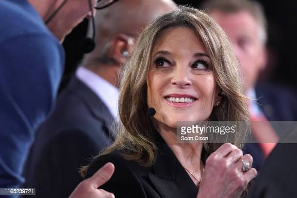 Democratic presidential candidate Marianne Williamson prepares for a television interview after the Democratic Presidential Debate at the Fox Theatre...