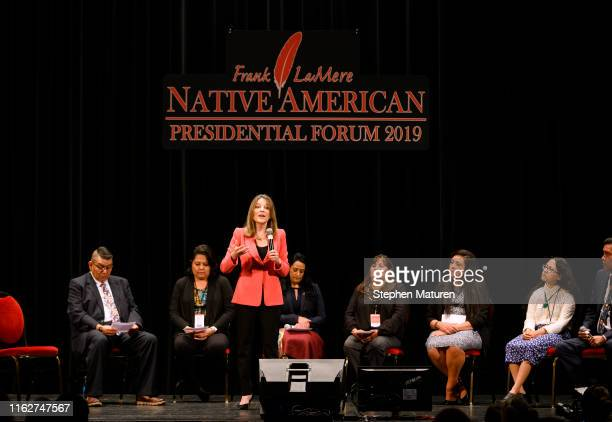 Democratic presidential candidate Marianne Williamson speaks at the Frank LaMere Native American Presidential Forum on August 19 2019 in Sioux City...