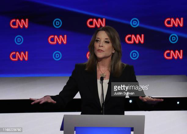Democratic presidential candidate Marianne Williamson speaks during the Democratic Presidential Debate at the Fox Theatre July 30, 2019 in Detroit,...