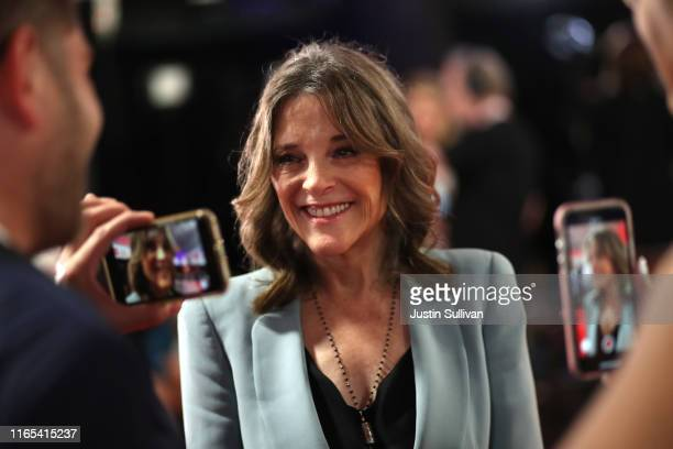 Democratic presidential candidate Marianne Williamson speaks to the media in the spin room of the Democratic Presidential Debate at the Fox Theatre...
